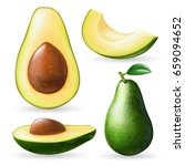 photo realistic avocado set.... | Shutterstock .eps vector #659094652
