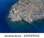 chapel in a rock into the sea....   Shutterstock . vector #659099542