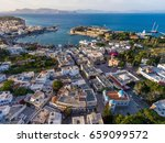 aerial view of kos town center. ... | Shutterstock . vector #659099572
