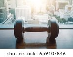 dumbbells on a background of a...   Shutterstock . vector #659107846