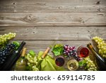 wine bottles with grapes and... | Shutterstock . vector #659114785