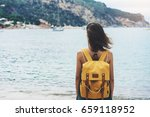 back view hipster girl with... | Shutterstock . vector #659118952