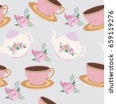 seamless pattern with tea party ... | Shutterstock .eps vector #659119276