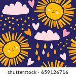 cute sky pattern. sun  clouds... | Shutterstock .eps vector #659126716
