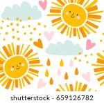 cute smiling sun  clouds and... | Shutterstock .eps vector #659126782