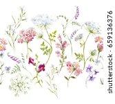 watercolor floral pattern ... | Shutterstock . vector #659136376