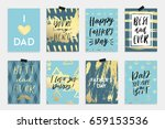 8 happy father's day postcards... | Shutterstock .eps vector #659153536