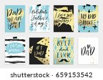 8 happy father's day postcards... | Shutterstock .eps vector #659153542