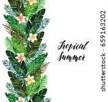 tropical summer. watercolor... | Shutterstock . vector #659163202