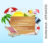 summer background. wood banner... | Shutterstock .eps vector #659164252