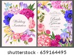 vintage card with garden flowers | Shutterstock .eps vector #659164495