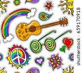 hippie seamless pattern. hand... | Shutterstock .eps vector #659170918