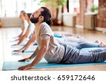 fitness  yoga and healthy... | Shutterstock . vector #659172646