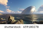 3d ufo crash into a sea | Shutterstock . vector #659180278