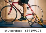 man on road bike indoors on... | Shutterstock . vector #659199175