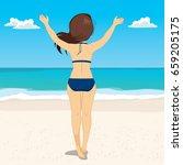 summer vacation of happy... | Shutterstock .eps vector #659205175