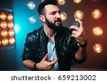 bearded performer with... | Shutterstock . vector #659213002