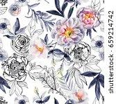 watercolor and ink doodle... | Shutterstock . vector #659214742