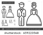 married couple vector line icon ...