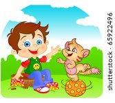 comic boy and playful fun cat... | Shutterstock .eps vector #65922496