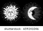 sun and moon with face stylized ... | Shutterstock .eps vector #659241046