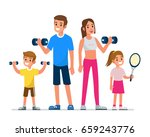 happy family making exercise... | Shutterstock .eps vector #659243776