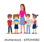 kindergarten teacher with kids.... | Shutterstock .eps vector #659244082