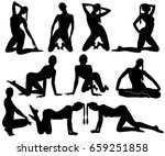 silhouettes of pinup girls... | Shutterstock .eps vector #659251858