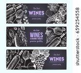 wines and gourmet snacks...   Shutterstock .eps vector #659254558