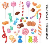 cartoon sweet bonbon sweetmeats ... | Shutterstock .eps vector #659258956