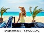 attractive woman near retro car ...   Shutterstock . vector #659270692