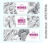 wines and gourmet snacks... | Shutterstock .eps vector #659278546