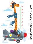 giraffe on plane. meter wall or ...   Shutterstock .eps vector #659286595