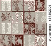 seamless vintage pattern with... | Shutterstock .eps vector #659302306