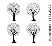 set of abstract trees with... | Shutterstock .eps vector #659315272