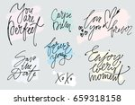 set of hand drawn slogans with... | Shutterstock .eps vector #659318158