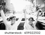 just married couple in the blue ... | Shutterstock . vector #659322532