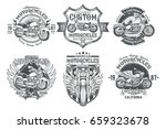 set vector black vintage badges ... | Shutterstock .eps vector #659323678