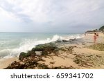 dreamland beach is a beach... | Shutterstock . vector #659341702
