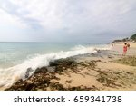 dreamland beach is a beach... | Shutterstock . vector #659341738