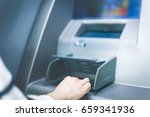 woman using cash machine atm... | Shutterstock . vector #659341936