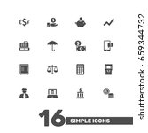set of 16 budget icons set... | Shutterstock .eps vector #659344732
