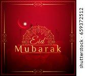 abstract red color eid mubarak... | Shutterstock .eps vector #659372512