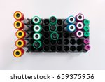 top view of blood tubes on...