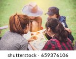 group of women friends camper... | Shutterstock . vector #659376106