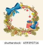christmas background with... | Shutterstock .eps vector #659393716
