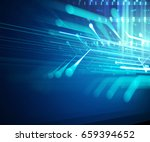 blue geometric abstract... | Shutterstock . vector #659394652