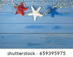 Red White And Blue Starfish In...