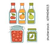 juice in bottles and preserves... | Shutterstock .eps vector #659404015