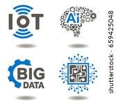 iot ai big data microchip... | Shutterstock .eps vector #659425048